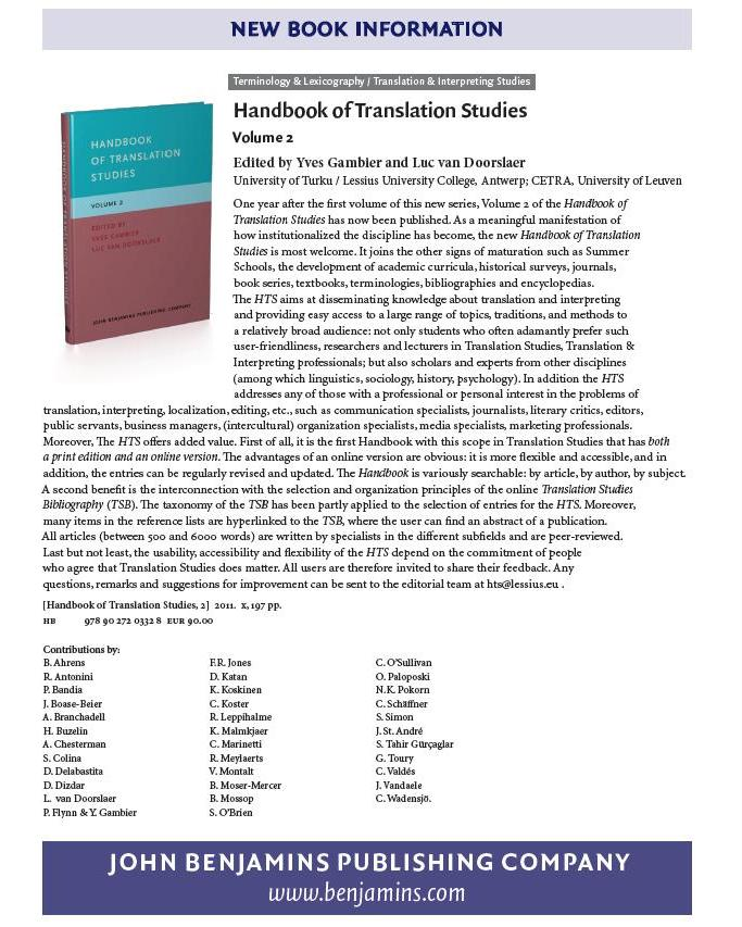 Handbook of Translation Studies, Volume 2